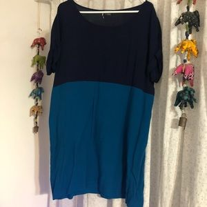 Sparkle and Fade Color Blocked Tunic/Mini Dress